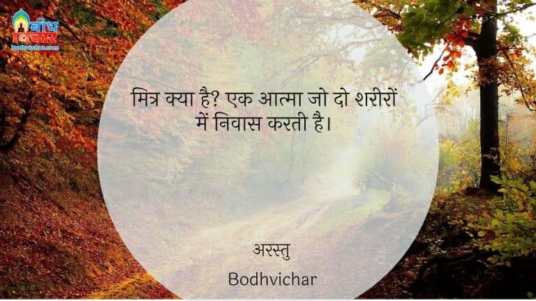 मित्र क्या है? एक आत्मा जो दो शरीरों में निवास करती है। : Mitra kya hai? ek aatam jo do shareero me nivas karti hai. - अरस्तु