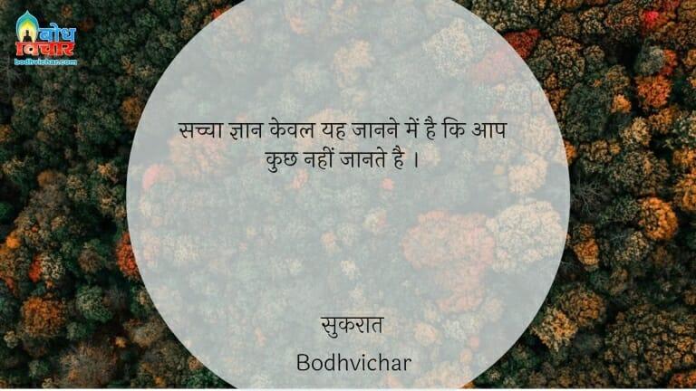 सच्चा ज्ञान केवल यह जानने में है कि आप कुछ नहीं जानते है । : Sachha gyaan keval yah jaanne mein hai ki aap kuchh nahi jaante. - सुकरात